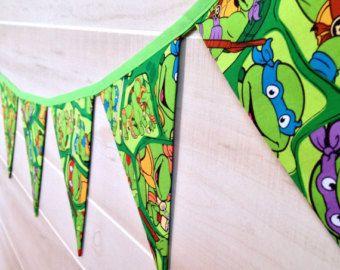 Add Name Ti Banner TMNT Birthday Ninja Turtle Bunting Flag Party Decor