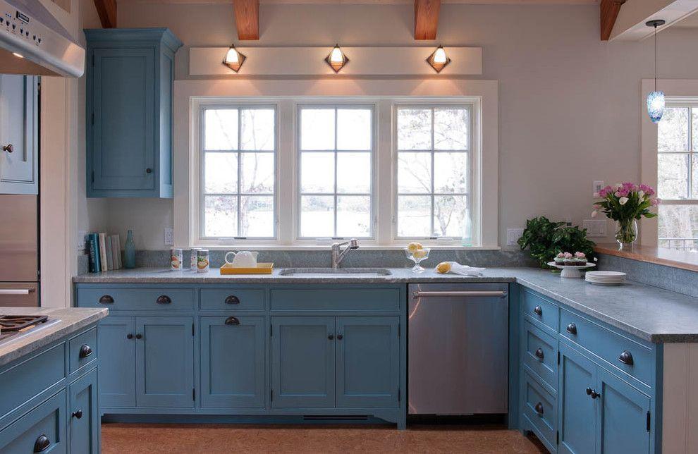 kitchen blue kitchen cabinet modern pendant light dark hardwood