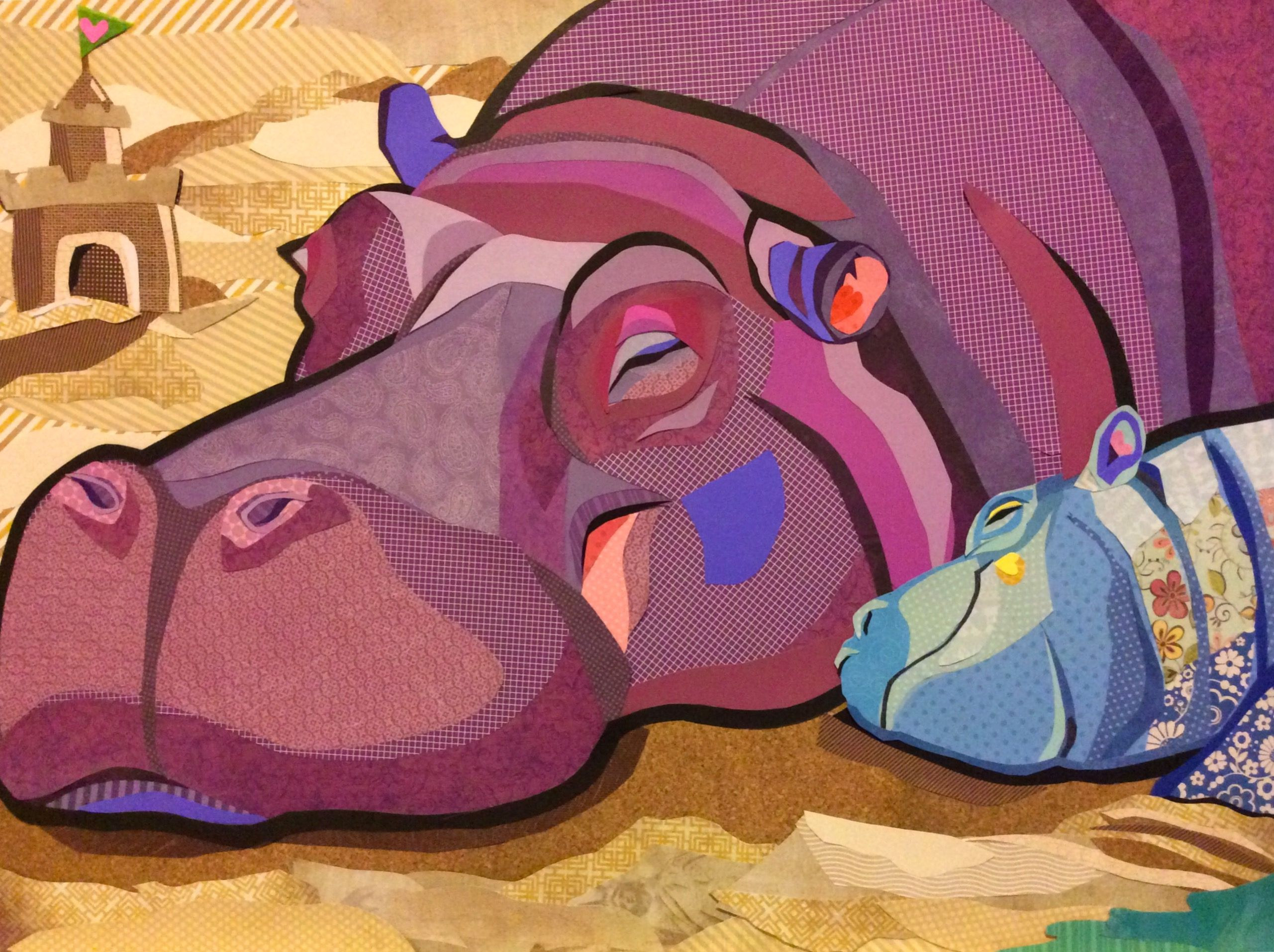 Scrapbook paper collage - Cut Paper Collage Art Hippo Holiday By Laura Yager Hippopotamus Artwork