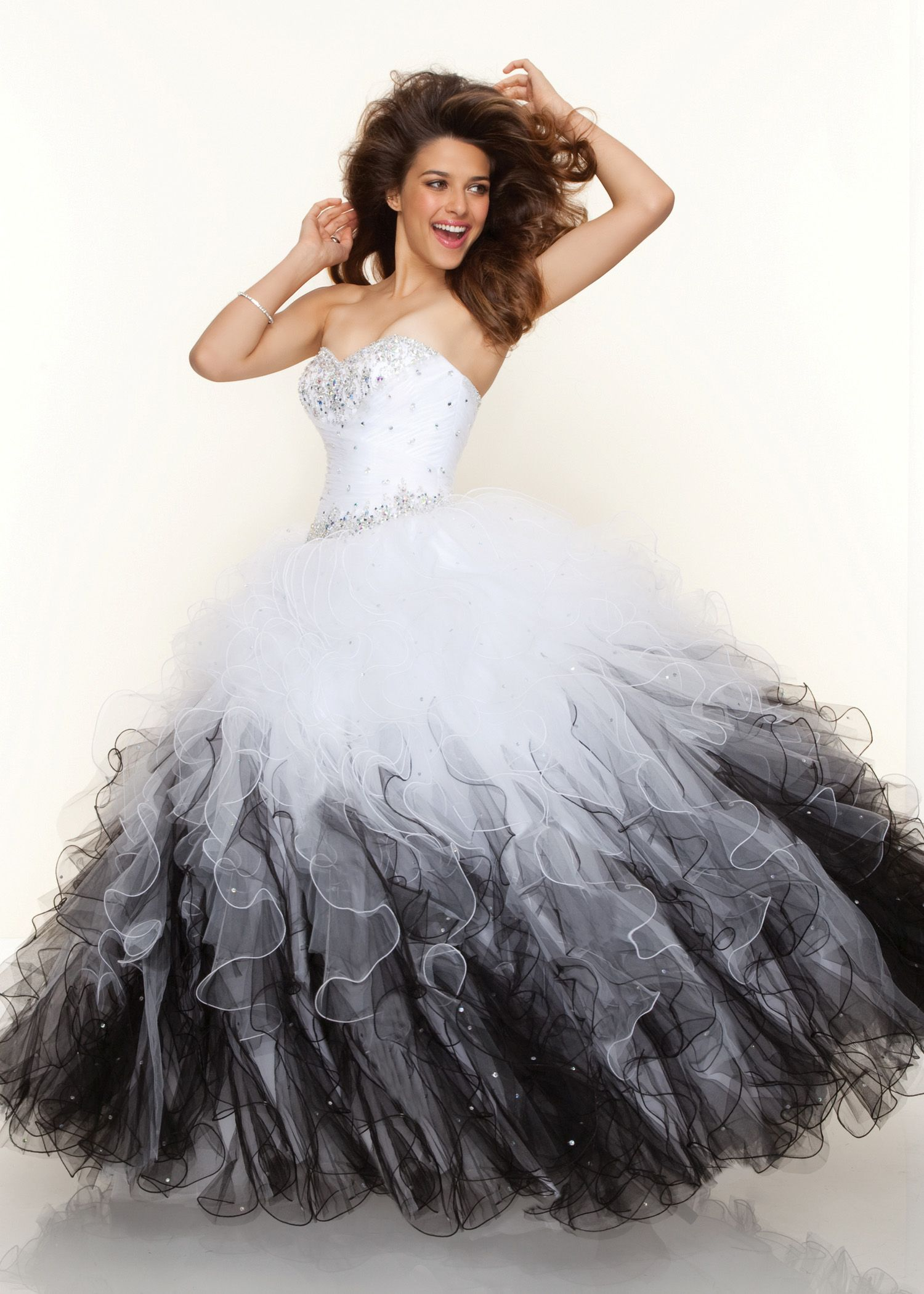New paparazzi by mori lee white and black tulle ball gown