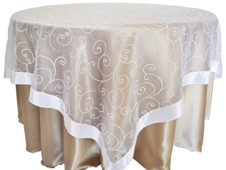 85 Square Embroidered Organza Table Overlay White 91101 1pc Pk