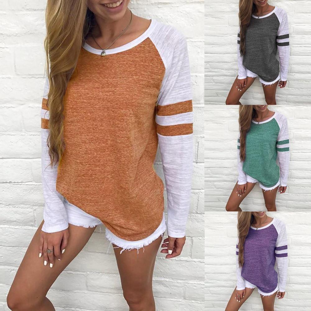 Fashion women ladies long sleeve splice blouse tops clothes t shirt