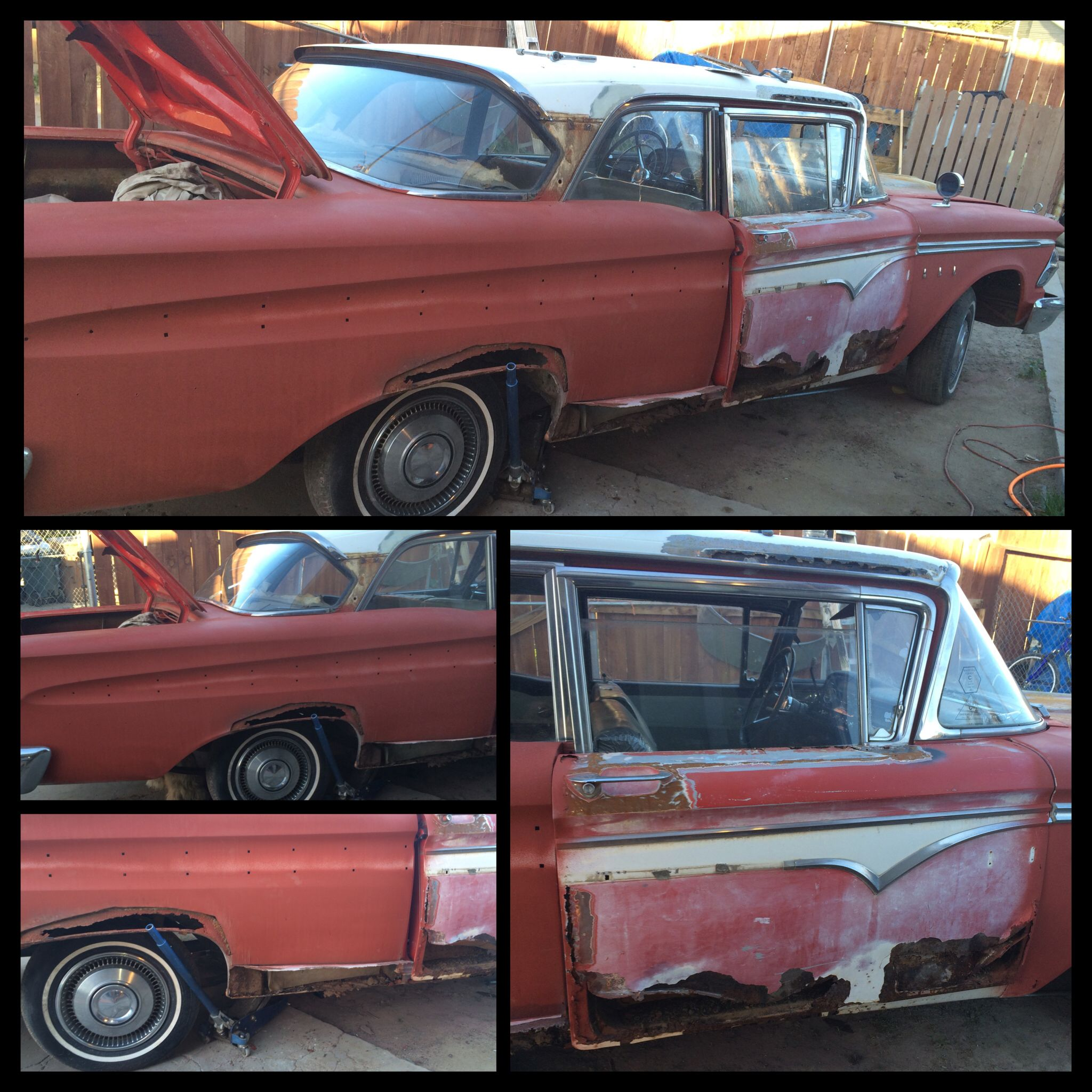 My fathers project he is working on right now: 1959 Edsel, she needs lots of work.