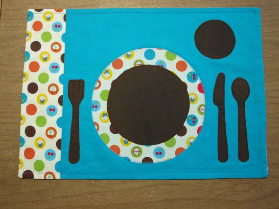 Table Setting (place setting outline) - this handmade placemat acts as the control & Table Setting: (place setting outline) - this handmade placemat ...