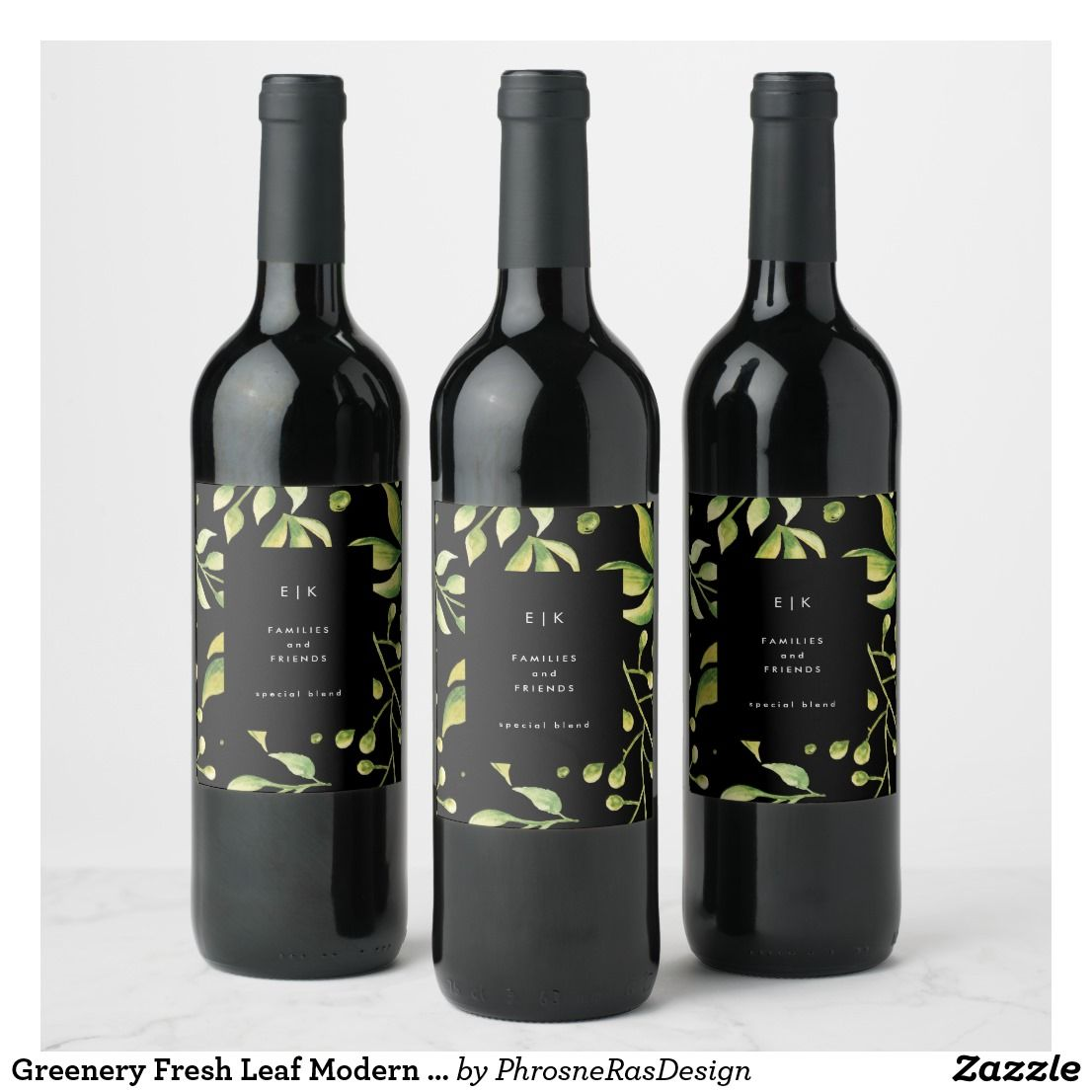 Greenery Fresh Leaf Modern Wedding Wine Label Zazzle Com Wine Bottle Design Modern Wine Labels Wedding Wine Labels