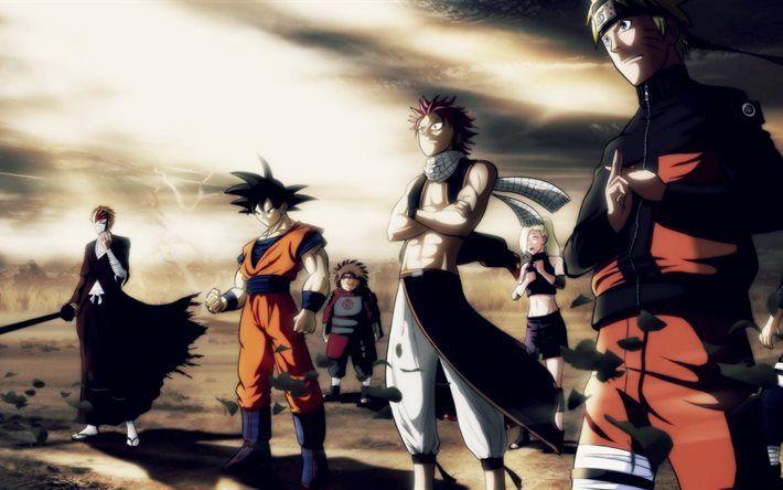 Natsu Goku Ichigo Naruto Dragonslayer Anime Liebe Anime Hintergrund Iphone