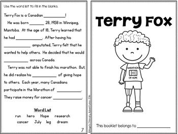 Terry Fox Activity Booklet Fall Writing Activities Terry Too Cool For School