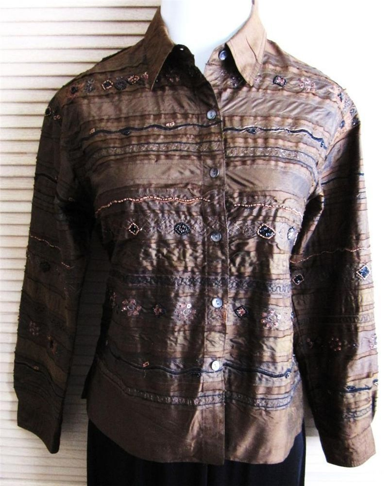 CHICO DESIGN Size 1 Embroidered 100% Silk Shirt/Jacket Brown #chico #shirtjacket