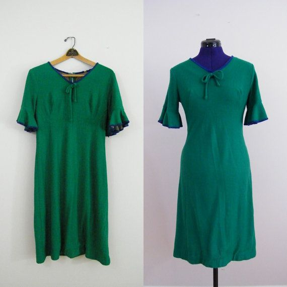 Vintage 1960s Green Wiggle Dress by ThriftyVintageKitten on Etsy, $25.00