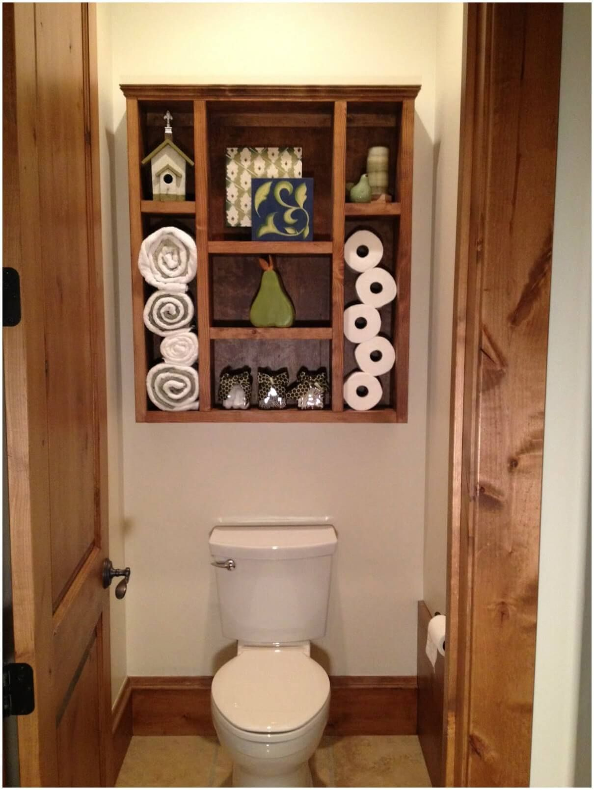 32 Brilliant Over The Toilet Storage Ideas That Make The Most Of Your Space Pallet Bathroom Shelf Bathroom Shelf Decor Pallet Wall Bathroom