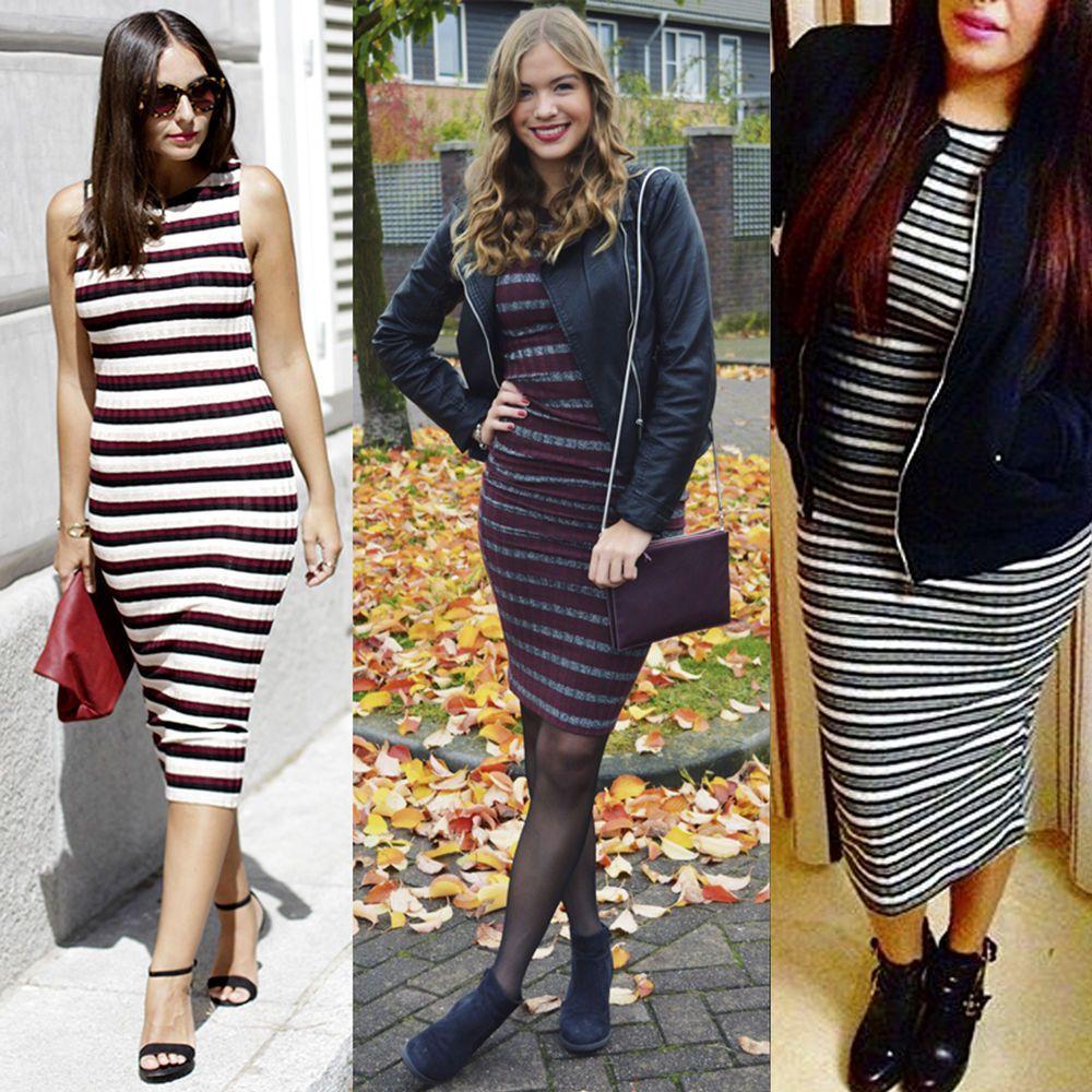 Dress zara white with stripe black bodycon sneakers