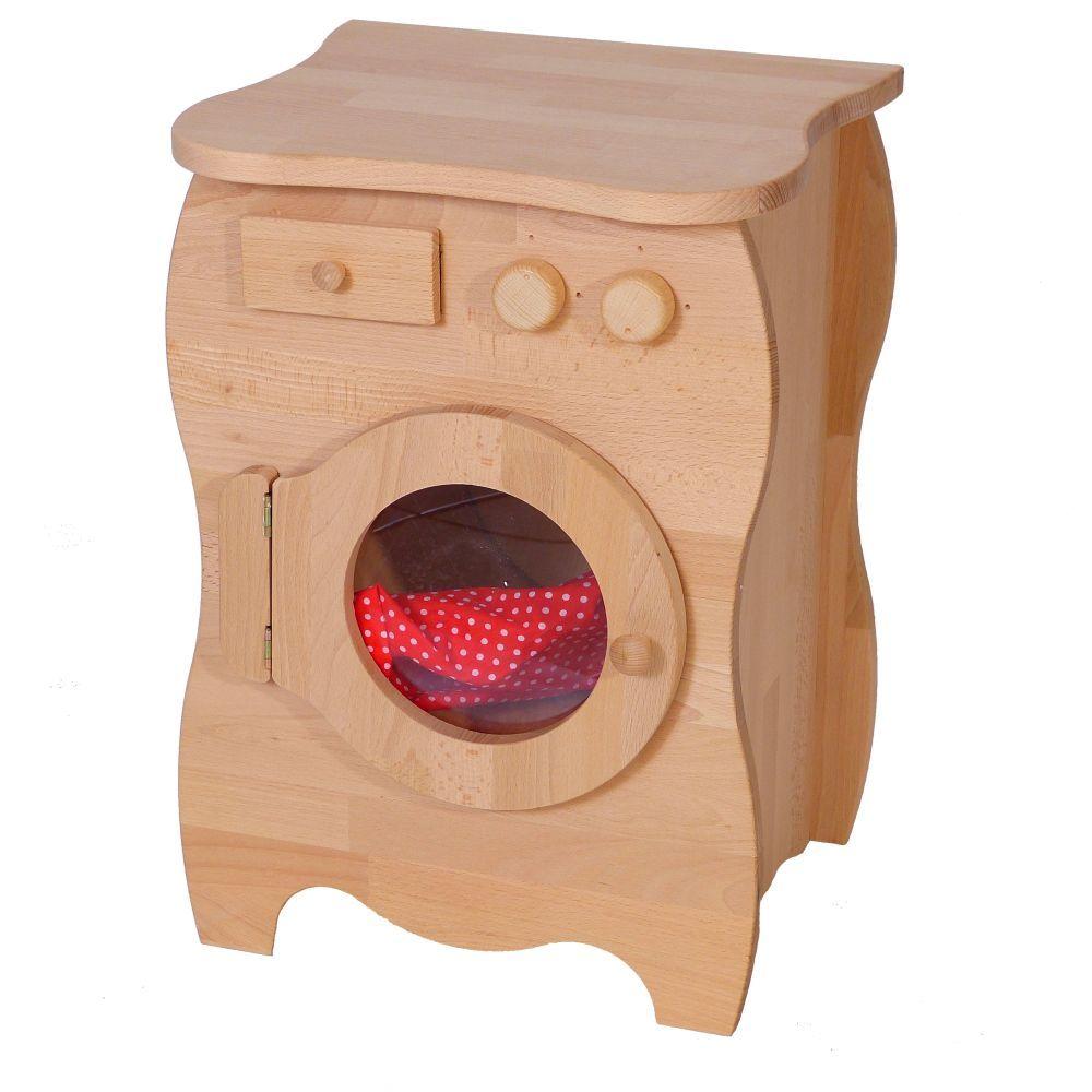 kinder spiel waschmaschine aus massivholz mit bullauge und waschpulverfach holz aus. Black Bedroom Furniture Sets. Home Design Ideas