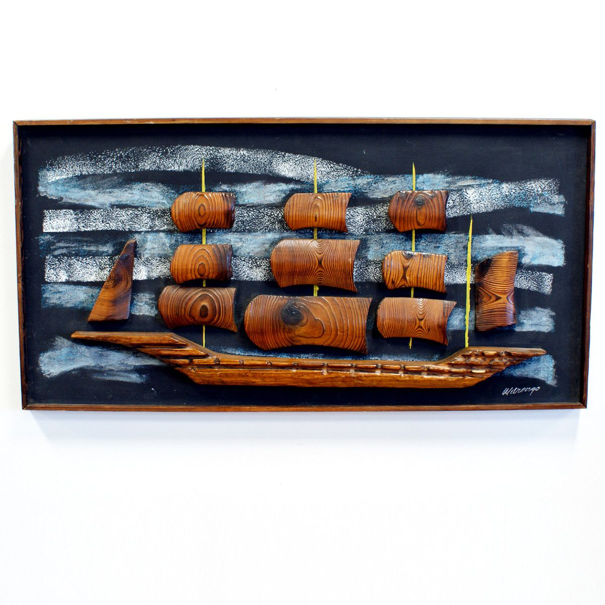 Fab 60s Artwork: 60s Witco Ship Framed Picture. Kitsch. Mid