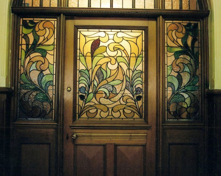 Stained Glass Door With Stained Glass Side Windows With Floral