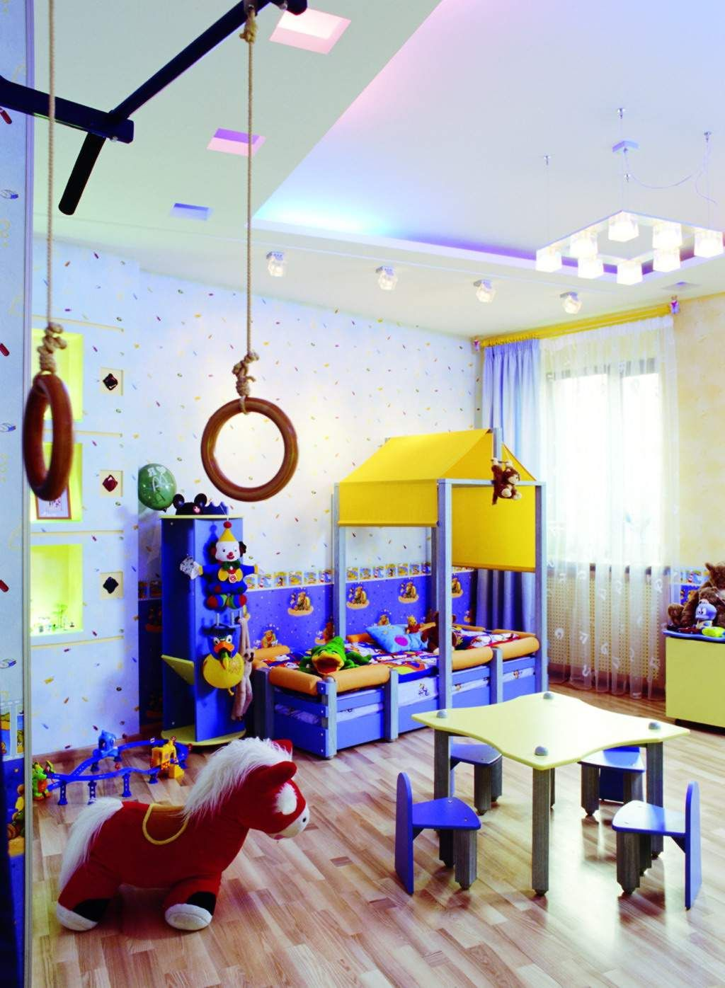 Kids bedroom kids room interior design with play and learn area kids room design with wallpaper - Kids room decoration ...