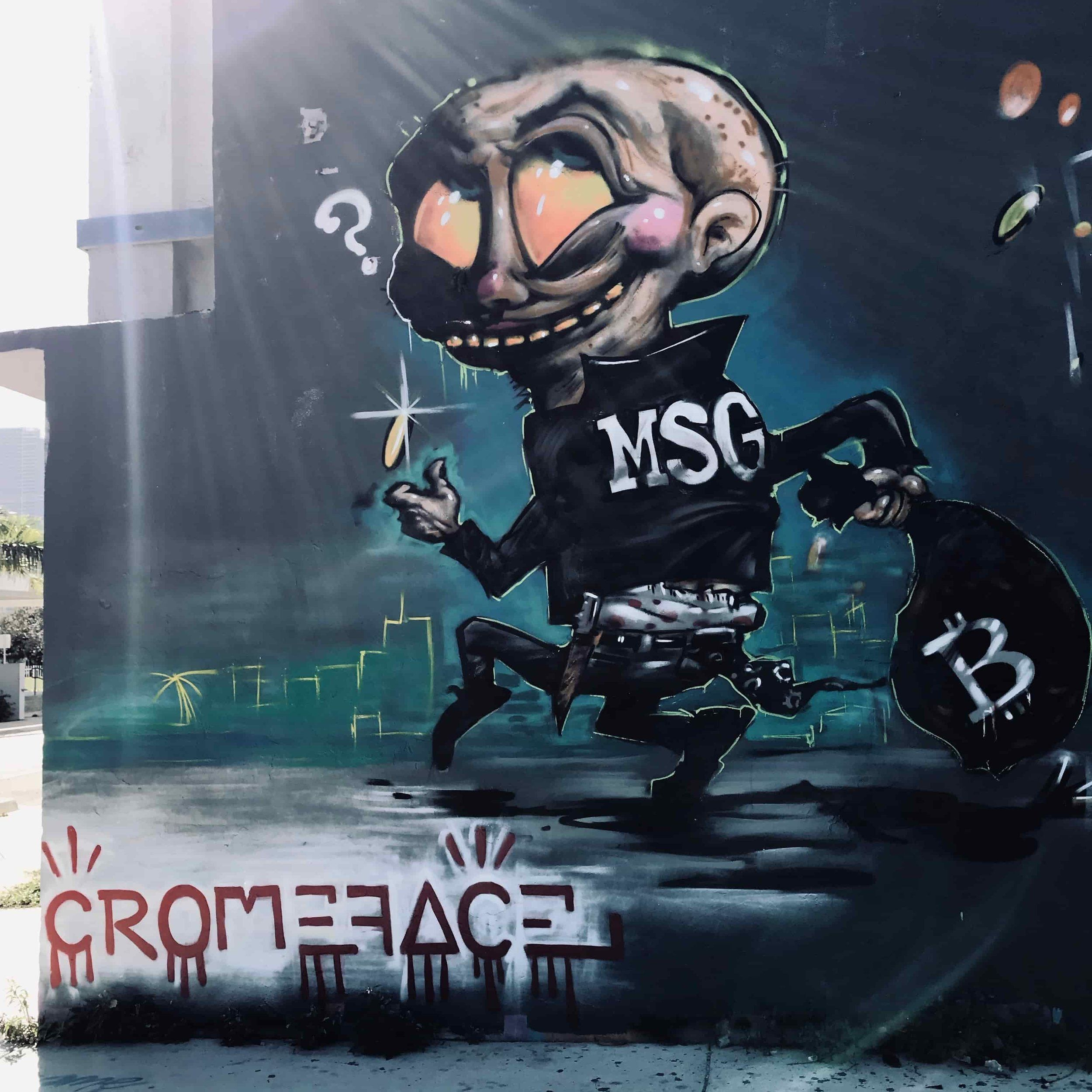 Bandit wearing the msg jacket artist crome mary poppins graffiti graphite