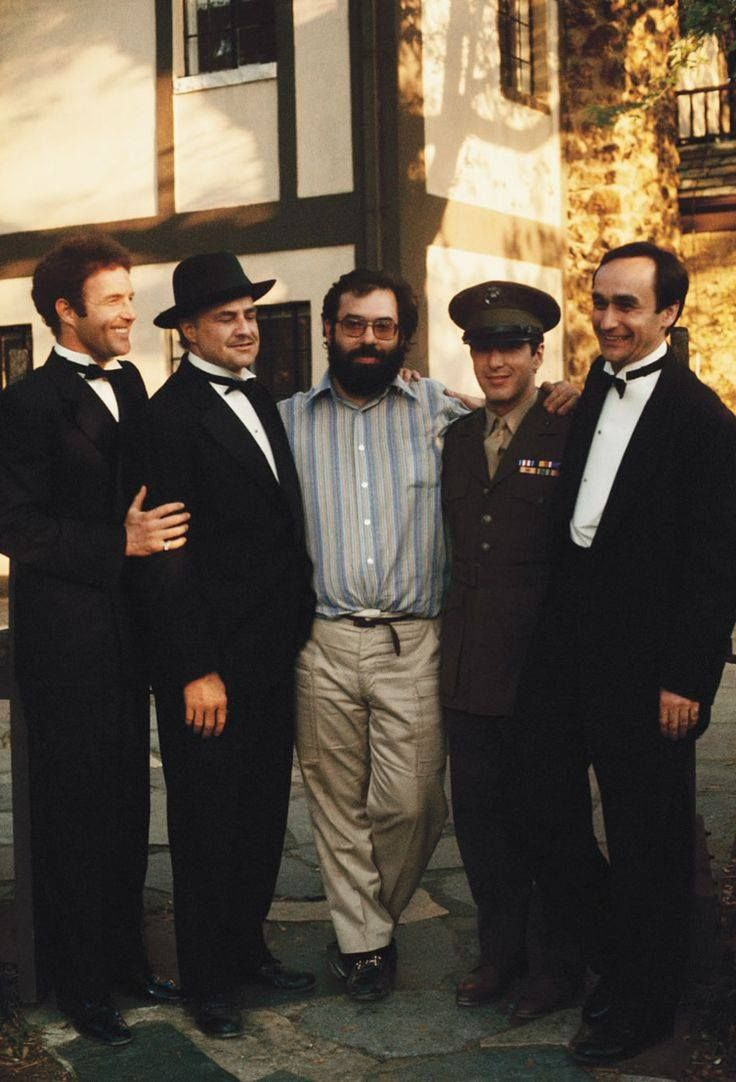 Cann, Brando, Coppolla, Pacino, & Cazale, on the set of The Godfather.