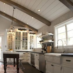 White Tongue And Groove Ceiling Planks With Wood Beams Rustic