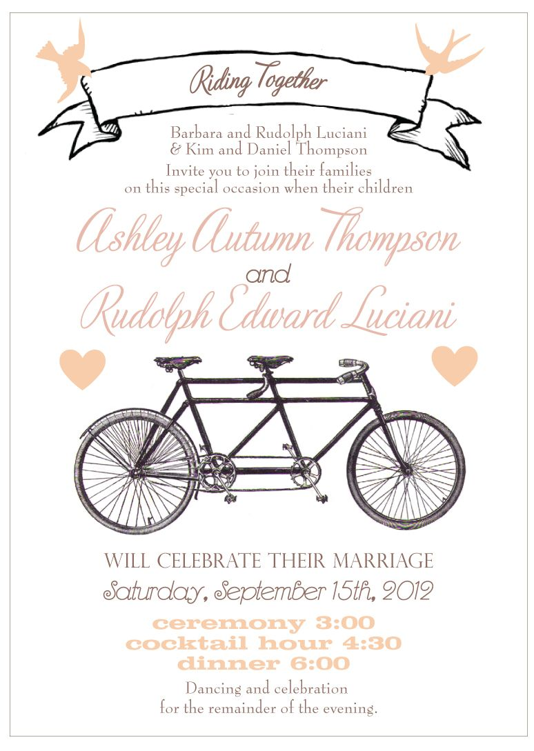 Vintage Tandem Bike Wedding Invitation. www.sofiainvitations.etsy ...