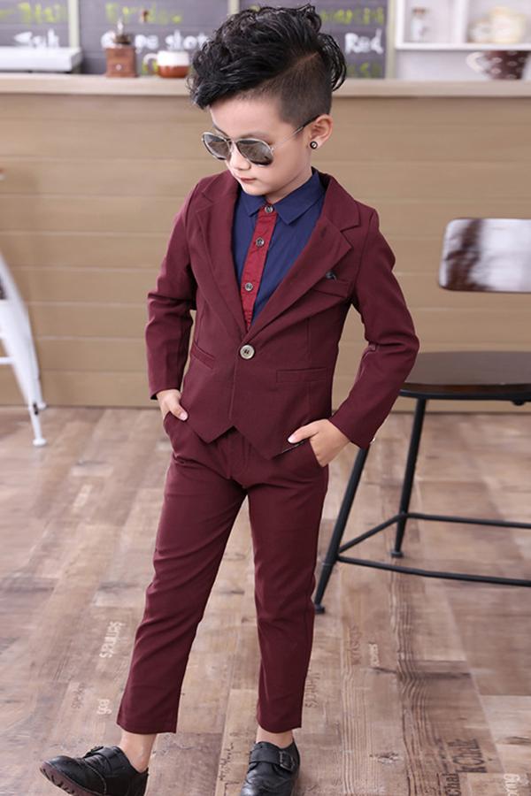 Solid Color Boys Dress Suit Set Boys Dress Kids Outfits Kids Suits