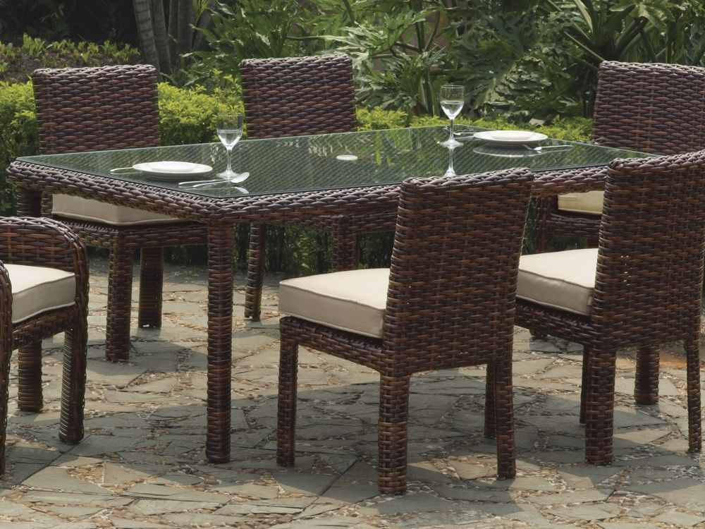 South Sea Rattan Saint Tropez Rectangular Wicker Dining Table 7