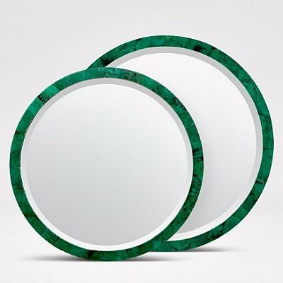 Albert Mirror in Emerald Shell from Made Goods is available in 2 sizes. Round polished frame sets off beveled edge of glass on this extremely…