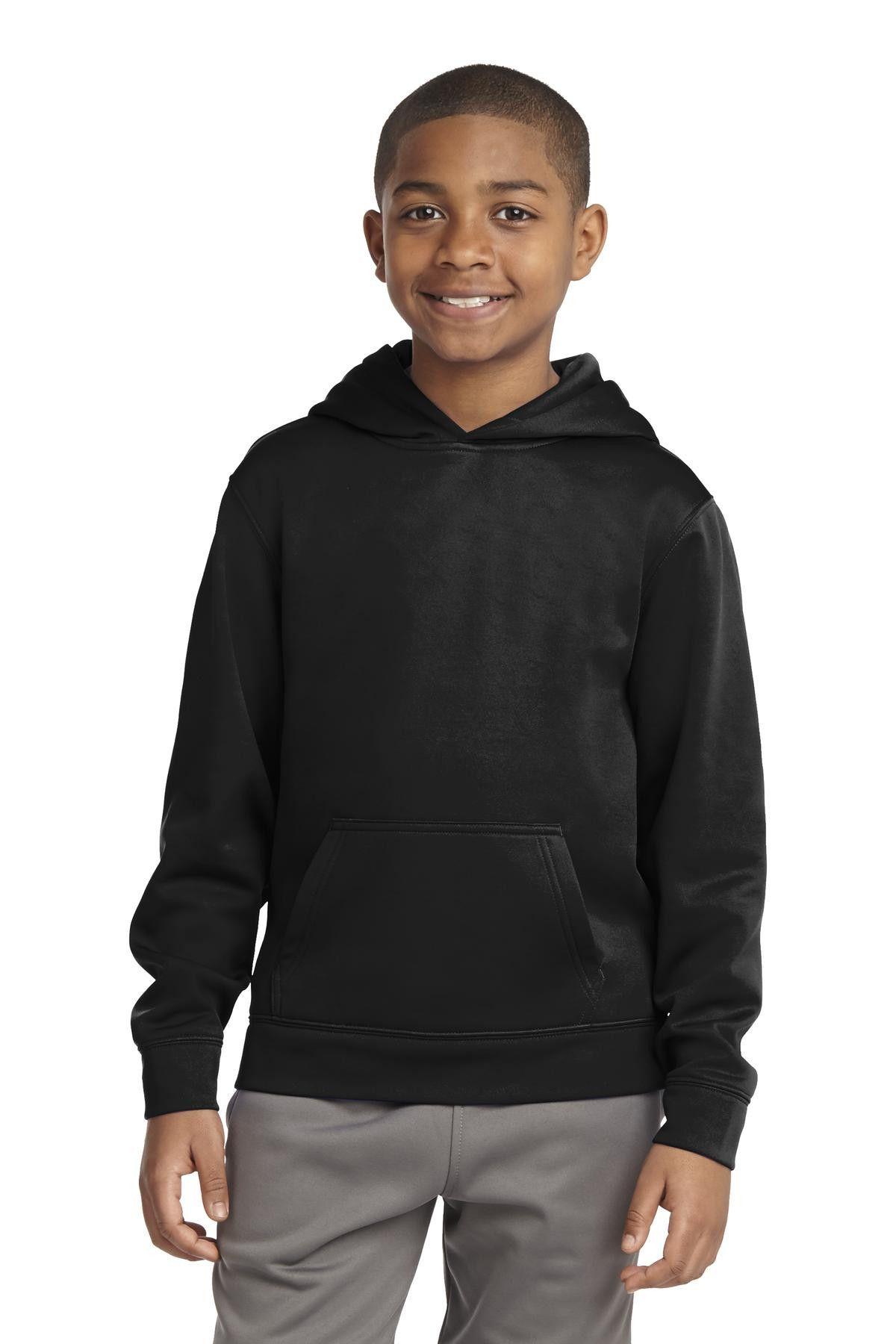 SportTek Youth SportWick Fleece Hooded Pullover. YST244
