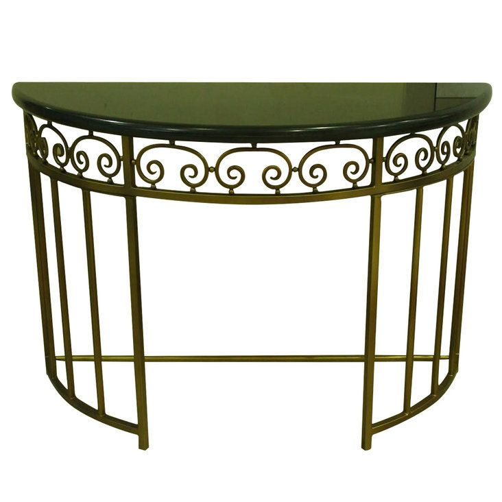 Semi Circle Metal Console Table With Marble Top Metal Console