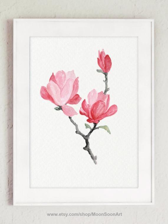 Digital Art Print Pink Magnolia Watercolor Poster Colorful Flower