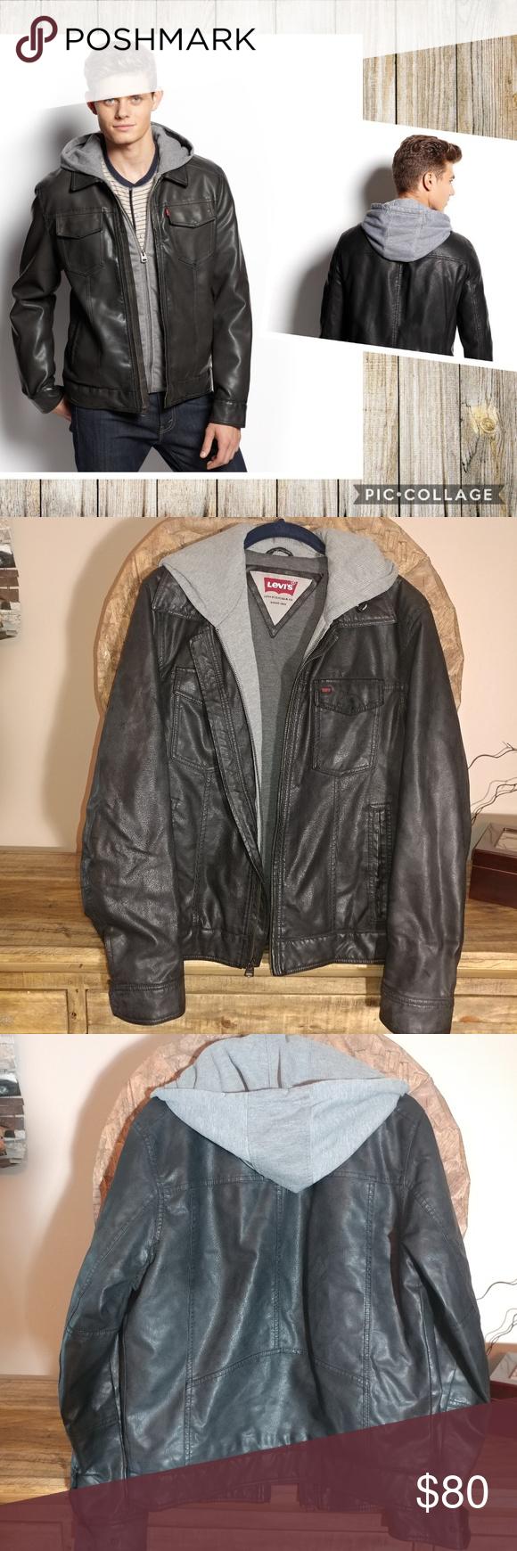 Levi S Black Faux Leather Jacket With Hoodie Liner Leather Jacket Black Faux Leather Jacket Hoodie Jacket [ 1740 x 580 Pixel ]