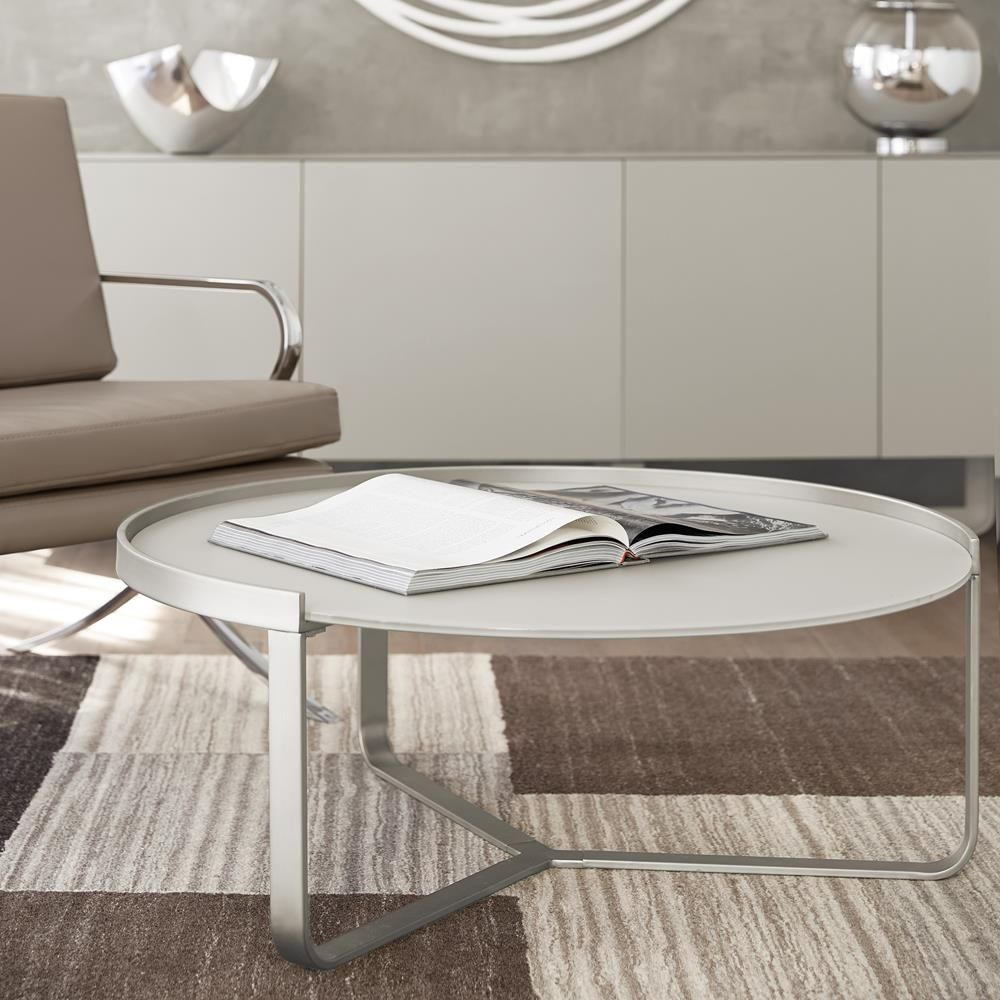 Atelier Moderna Round Frosted Glass Top Coffee Table With Metal Legs Coffee Table Glass Top Coffee Table Furniture Decor [ jpg ]
