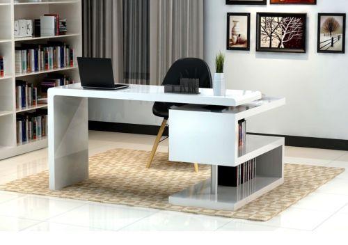 A33 Modern White Lacquer Office Desk With Bookcase Idee Deco Bureau Deco Bureau Bureau A Domicile