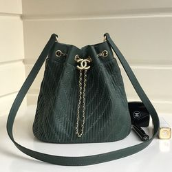 Chanel Pleated Crumpled Calfskin Drawstring Bag Green A91759 ... 95abe44698