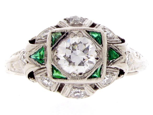 Diamond and calibré emerald ring. from Berganza London ...