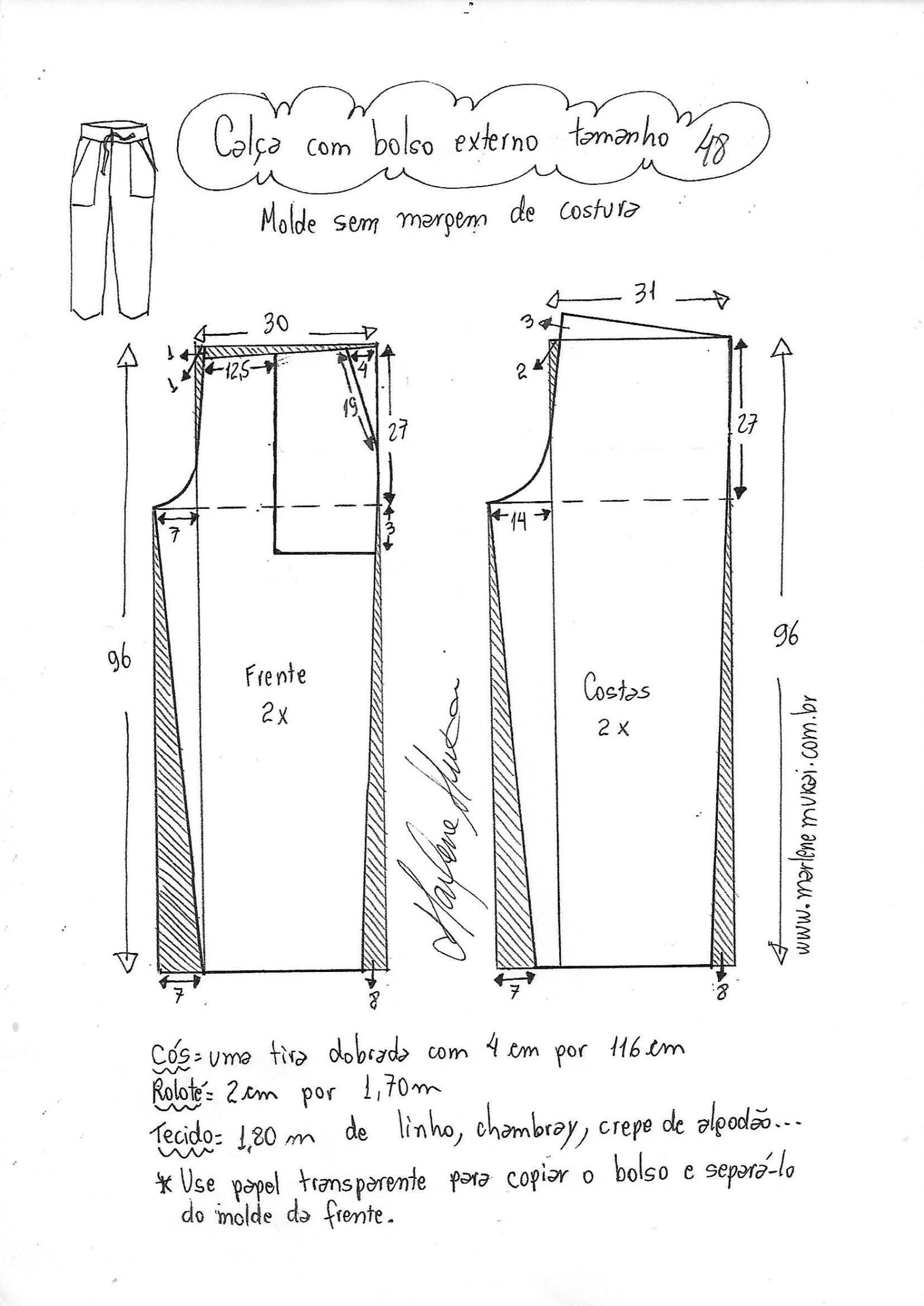 Calça com bolso externo | Moldes de calças, Roupas simples