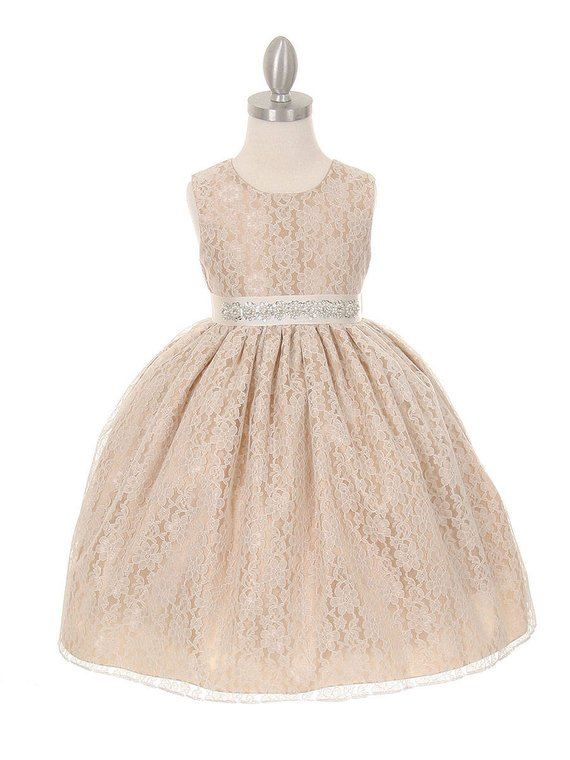 980af0466 Champagne Lace Flower Girl Dress With Embellished Belt in 2019 ...