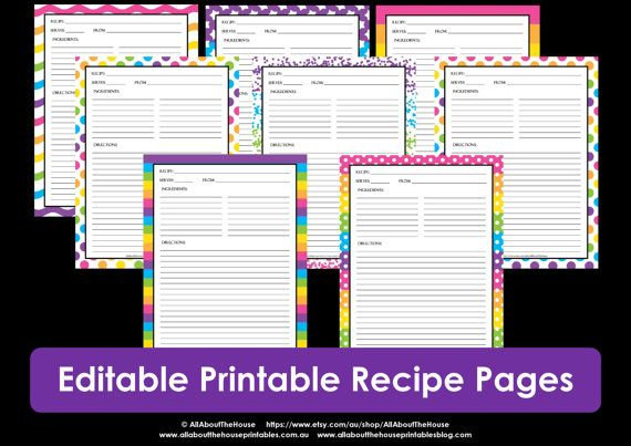 Editable Printable Recipe Card Template Pdf Sheet Recipe Page