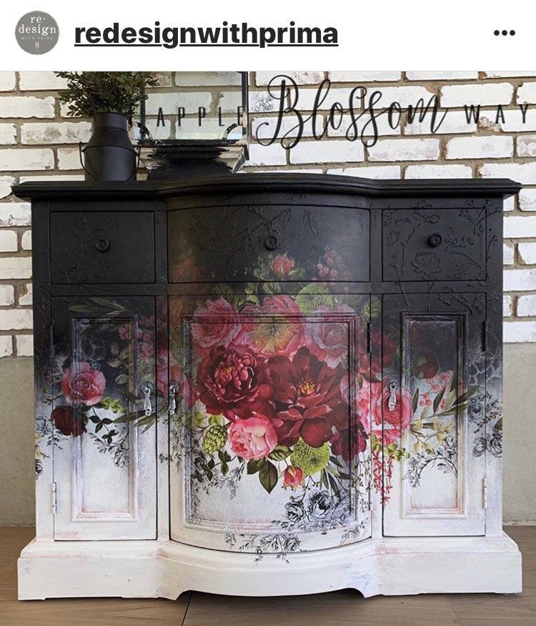 Rub On Transfers For Furniture Furniture Decals Redesign With Prima Transfers Royal Burgundy Rose Furniture Transfers 44 X 30 In 2020 Floral Furniture Painted Furniture Black Painted Furniture