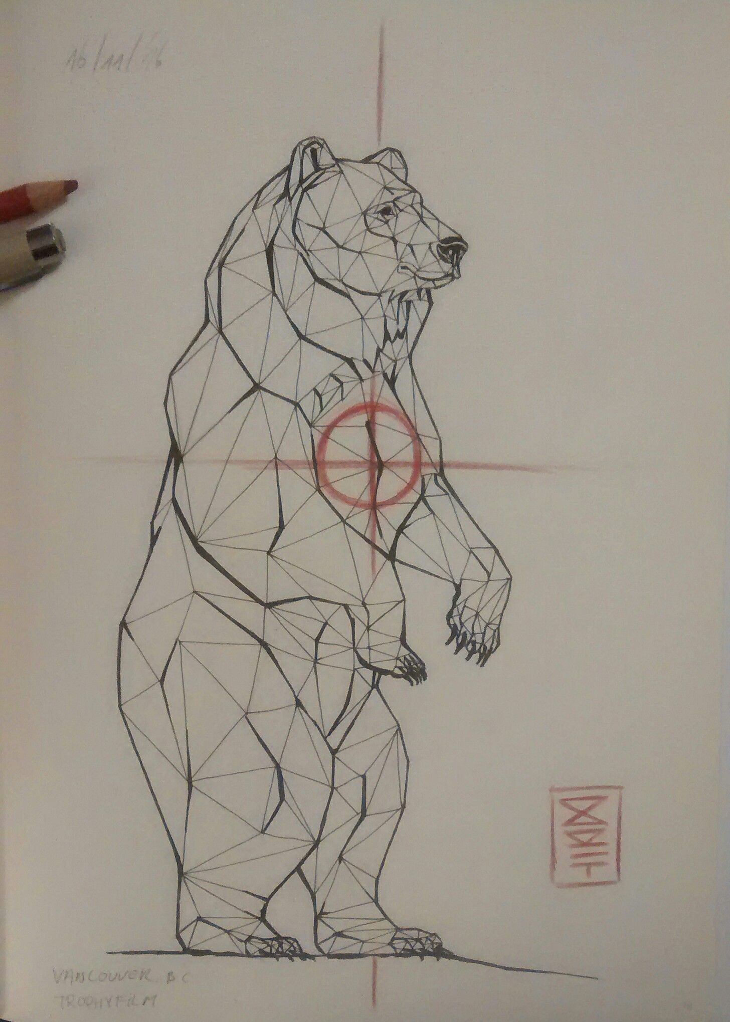 standing bear drawing inspired by the trophy film from wildlife