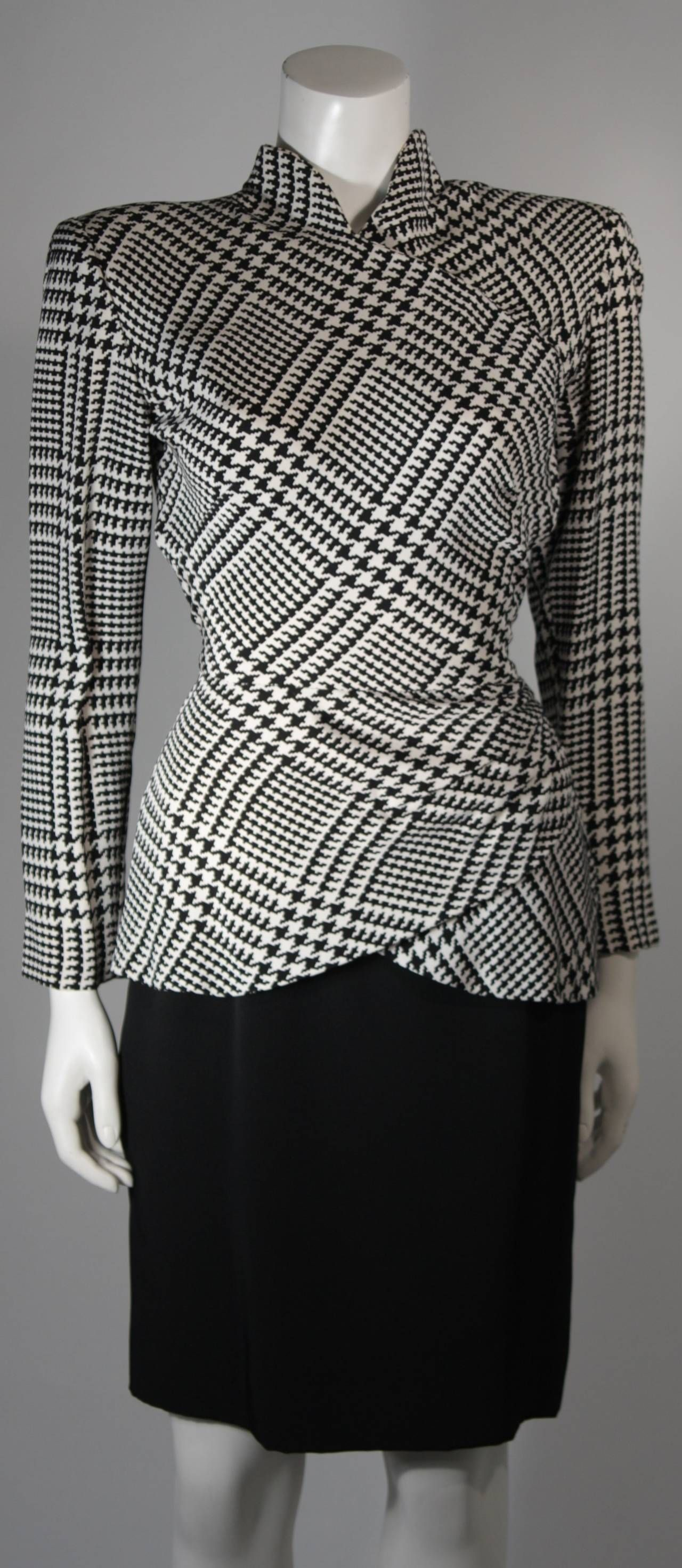 Vicky Tiel Black and White Houndstooth Cocktail Dress and Jacket ...