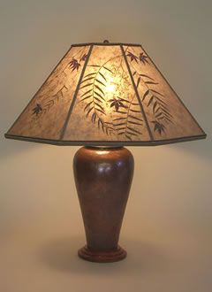 Large Copper Table Lamp, Pepper U0026 Red Maple Leaves Mica Lamp Shade