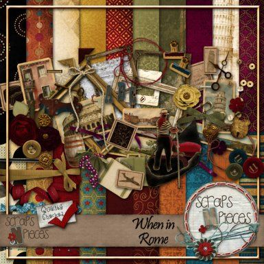 $5.99 - When in Rome digital scrapbook kit - great travel/vacation kit