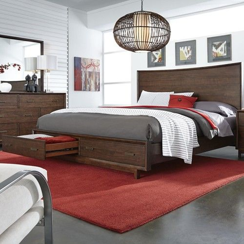 Aspenhome Walnut Heights Queen Panel Storage Bed With 2 Cedar Lined Drawers  In Footboard