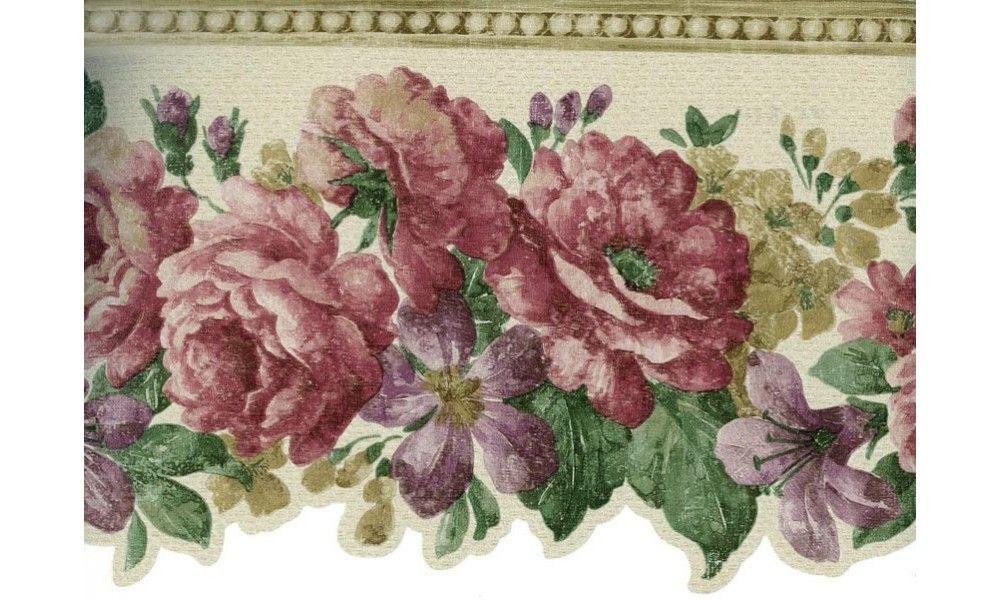 Floral Borders : Lavender Pink Flowers Wallpaper Border