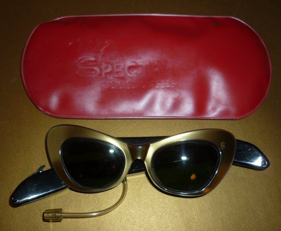 Spectra - Radio Sunglasses & Case - From 1966 - Ladies -Goldtone -Funkilcious!