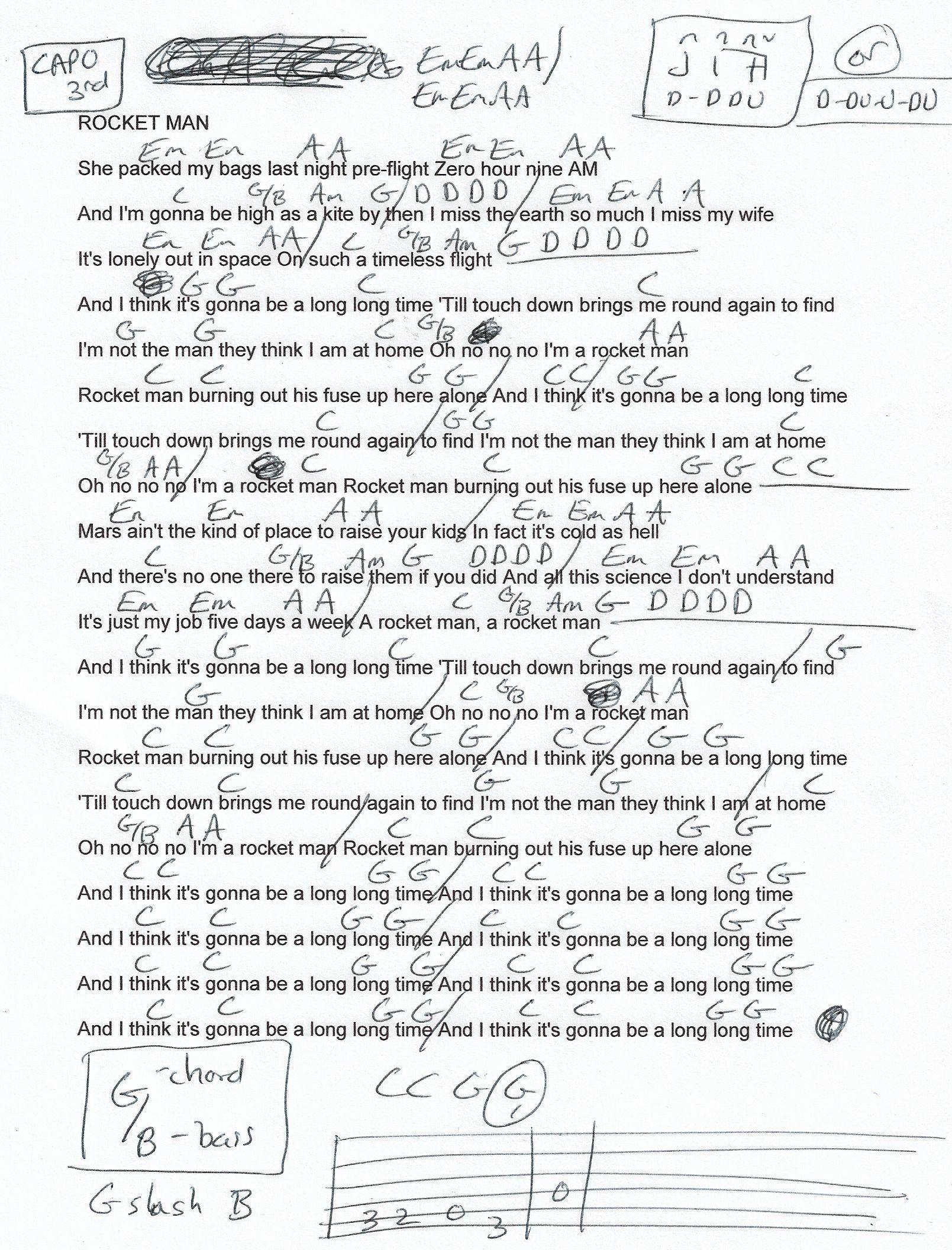 Rocket Man Elton John Guitar Chord Chart   Capo 15rd   Lyrics and ...