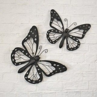 Set Of Two Decorative Metal Butterfly Garden Wall Art Black / Brown Finish  £34.99