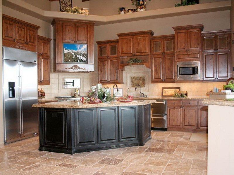 dark kitchen island with white cabinets