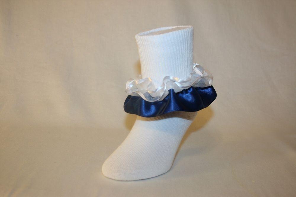 3 Pairs of Girls Satin Frilly Ribbon Ankle Socks Pink Black Navy Blue