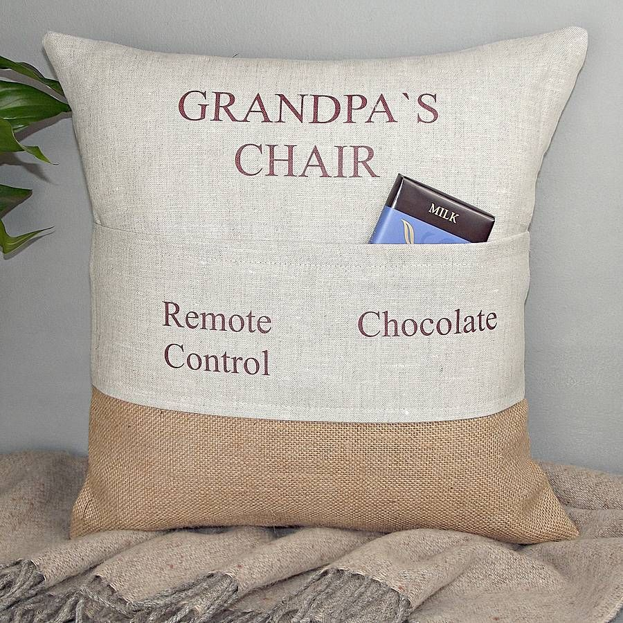 Grandads Chair Personalised Pocket Cushion By Rustic Country Crafts